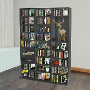 Black Bookcase Storage Rack Unit Tower Organizer Adjustable Wooden 837 CD's