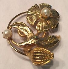 Pin Petal Bud 2 Pearls Vtg Gold Plated Pearl Flower