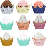 25-100 Laser Cut Cupcake Wrapper Liner Baby Shower Princess Baking Cup Muffin UK