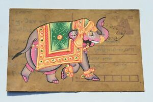 A LOVELY OLD RAJASTHAN MINIATURE PAINTED INDIAN POSTCARD OF A ELEPHANT NO 171