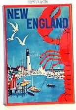 """NEW ENGLAND LOBSTER LIGHT HOUSE Fridge MAGNET  2"""" x 3"""" art VINTAGE TRAVEL"""