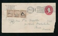 FRANCE POSTAGE DUE 1910 STATIONERY from USA J + J SLATER...STRIP of 3 x 10c