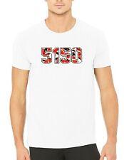 Red White Black Stripes White T-shirt Size XL