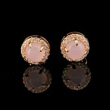 earrings Nails Studs Round Solid Silver 925 Rose Quartz Gold Plated CY3
