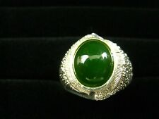 9, beautiful contrast and presentation Sterling Silver ring, Jade cabochon, size
