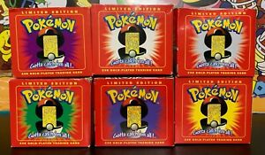 Lot of 6 1999 Burger King Pokémon Limited Edition 23K Gold Plated Cards SEALED