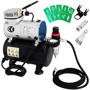 Auto Start/Stop Air Brush Compressor Airbrush Holder Kit Art Make Up Free Hose