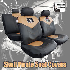 Tan Black Leatherette Leather Look Pirate Skull Embroidery Car Seat Covers Set