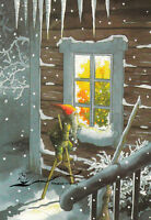 209 Winter Inge Löök Zwerg auf Stelzen im Schnee// Nr Kunstkarte