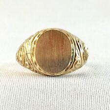 Vintage Signet Men's Ring #5, Oval Plate 12 x 10mm, 14K Gold Plated