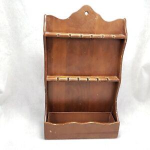Vintage Wood Souvenir Spoon Rack 12 Slots Wall Shelf Bottom Tray Trinket Holder