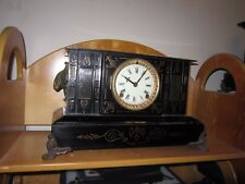 antique cast iron ansonia  mantle clock runs and chimes pendulum and key works 2