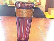 Moser Type Czech Bohemian Amethyst Art Glass Vase With Decorated Gold Band