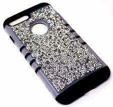 For iPhone 7 PLUS Frost Trim Silver 3D Rhinestones Bling Black Hybrid Armor Case