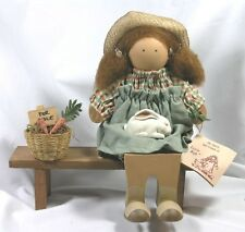 Lizzie High Handcrafted Folk Art Doll Selling Carrots - Signed 1988