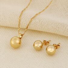 Ball Pendant Necklace Ball Earrings Jewelry SET 14k Fine Gold GF Party Best Gift
