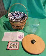 Longaberger 1994 Christmas Collection Jingle Bell Green Basket/Liner/Protector