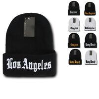 California City LA Long Beach Compton Cuffed Long Beanies Knit Ski Skull Winter