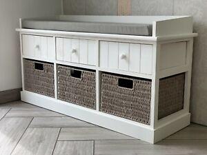 New Elegent White Storage Unit Bench Grey Baskets Hallway Window Seat Bedroom