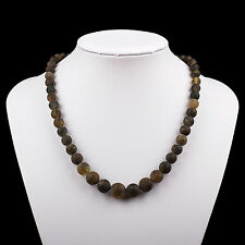 Raw Unpolished Natural Baltic Necklace with Round Ball Green Color Beads