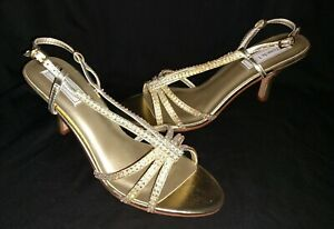 Touch Ups Wedding Formal Shoes Sandals Lyric Gold Women's size 7.5 - NEW w/box