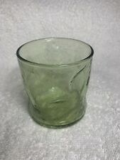"Vintage Wavy Green Bubble Drinking Glass Juice 3 1/4"" Tall"