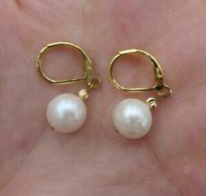 Perfect 9-10mm Natural Round Akoya White Pearl Earring 14k Yellow Gold