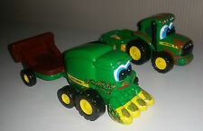 """John Deere Ertl Die Cast 3.5"""" Tractor And Harvester With Wagons For Toddlers"""