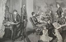 1890 Large Antique Print - Alexandra of Denmark - Family Reunion, Fredensborg