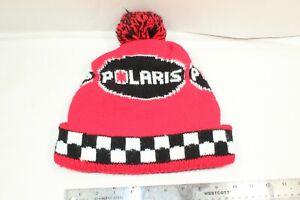 Vintage Polaris Snowmobile Knit Hat Beanie Winter Ski Red