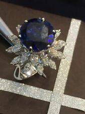 10,06 Carats Poire Marquise Couper Diamants Saphir Cocktail Bague En 585 14K Or