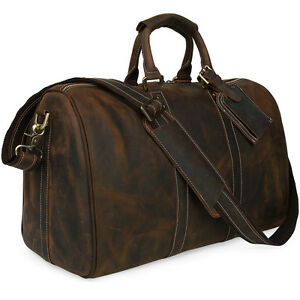 Wild Style Mens Luggage Large Laptop Suitcase Cowhide Leather Travel Tote Bags