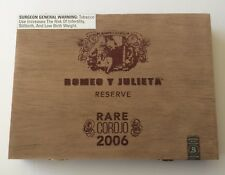 Wood Cigar Box ROMEO Y JULIETA Reserve EMPTY Hinged Lid Storage Stash Crafts