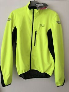 Gore Bike Wear Soft Shell Hi Vis Wind Stopper Cycling Jacket Size L