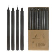 """Mega Candles - Unscented 10"""" Straight Taper Candles - Black, Set of 12 Cga096-Bk"""