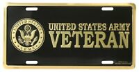 US ARMY VETERAN HIGH QUALITY METAL LICENSE PLATE - MADE IN THE USA!