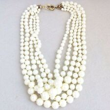 NEW Pearl Necklace Chunky Glass Multi-Strand Antique Gold Tone Chain Statement