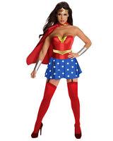 Adult Superhero Wonder Women Fancy Dress Costume Halloween Hen Party Outfit New