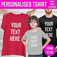 Childrens Personalised T Shirt Any Custom Text Mens Ladies Funny Tshirt Top Gift