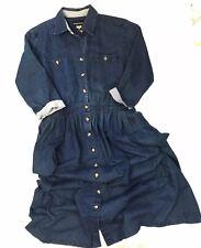 Vintage Denim 14 Dress Button Front Midi Dark Wash Modest