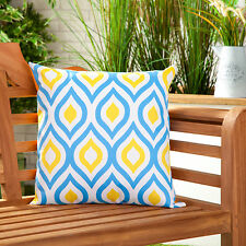 Blue Yellow Abstract Water Resistant Outdoor Printed Garden Scatter Cushion Cane