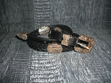 Woolrich Leather Belt Black with Silver Hardware