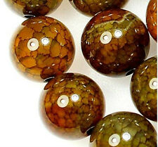 10mm Yellow Dragon Veins Agate Gem Round Loose Bead 15''