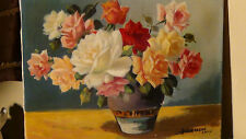 ANTIQUE 19C JAPANESE ORIGINAL OIL PAINTING ON CANVAS SIGNED BY ARTIST JIGARASHI