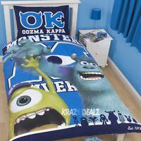 Disney Monsters University Inc Single Panel Duvet Cover Bed Set Mike Sully Gift