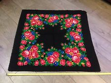 Antique from 1980 collectible Pavlovo Pasad scarf wrap shawl wool made in Russia