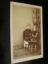 Cdv old photograph boy girl wheelchair by Cruickshank edinburgh c1860s