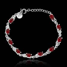 Women 925 Silver Red Zircon Chain Bracelet Bangle Christmas Fashion Jewelry