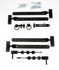 "Adjustable Black 18"" Hook & Band Gate Hinge Set for double Gates / Doors"
