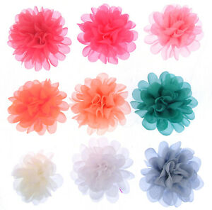 11cm Ruffled light Chiffon Pompom Flower Hair Clips Bobbles Bridesmaid Bridal